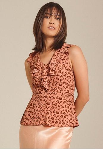 Dressing Paula pink Ruffled Printed Crepe Top 47043AAC1CF1F7GS_1