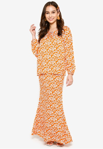Lubna 橘色 and 藍色 Front Ribbon Tie Kurung B1D27AAE2ACF7CGS_1