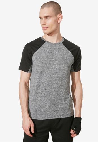 Trendyol grey Regular Fit Colored Sleeve T-Shirt 50B1AAA6858D2DGS_1