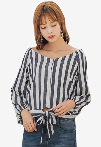 Yoco white and navy Round Neck Striped Tie Front Top CF5DAAA0281181GS_1