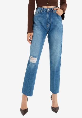 Trendyol blue High Waist Ripped Jeans 76127AA2357816GS_1