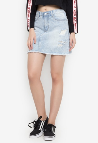 NEXT blue Distressed and Faded Skirt C1D91AA4963E12GS_1