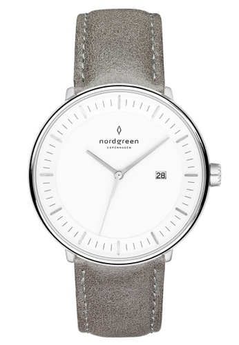 Nordgreen grey and silver Nordgreen Philosopher Silver 40 mm - Grey Leather Watch 04004ACC920CD2GS_1