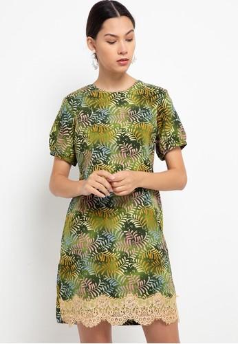 ARJUNA WEDA green Sackdress Batik Dobby Daun Saga 3083CAAC886864GS_1