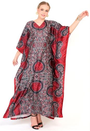Kanzi by liza yahya black and red Kanzi Exclusive Short Sleeve Batik Kaftan B63DEAA37E32D2GS_1