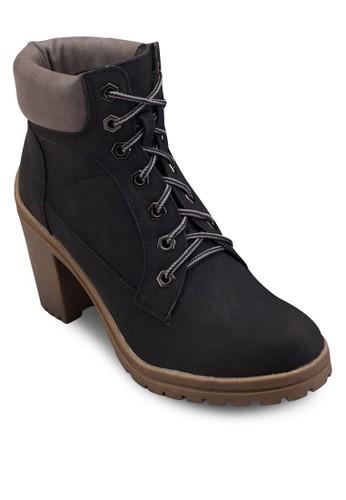 Nigesprit outlet 高雄el 粗跟高跟繫帶短靴, 女鞋, 鞋