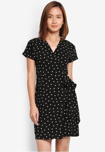 Dorothy Perkins black Petite Spot Wrap Dress 4EA30AA0F23323GS_1