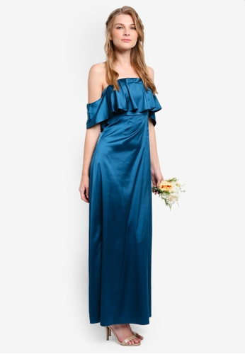 ZALORA green Bridesmaid Satin Off Shoulder Maxi Dress AA684AADD2B8FAGS_1
