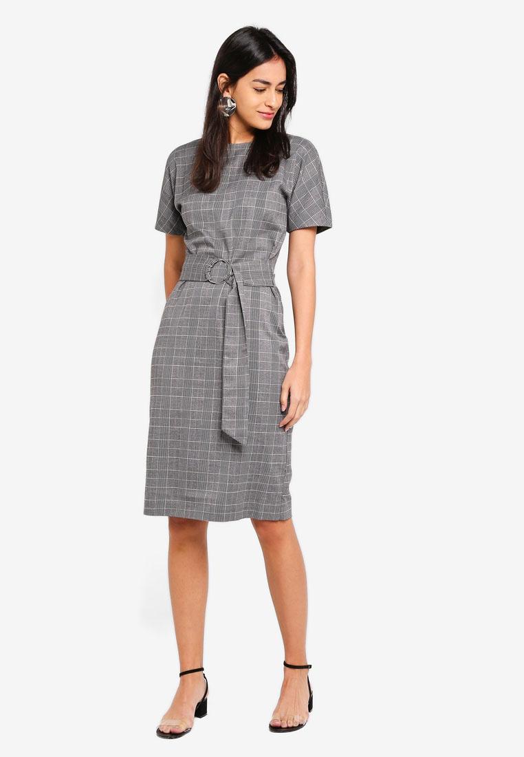 Grey Wiggle Dress Pattern Check WAREHOUSE Charcoal nTaqAxw0