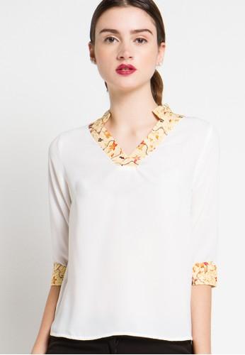 FAME white 7/8 Sleeves Blouse FA157AA92TLBID_1