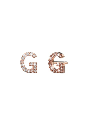 925 Signature silver 925 SIGNATURE Solid 925 Sterling Silver Glamour Alphabet Letter Earrings Rose Gold  G 7E177AC215580BGS_1