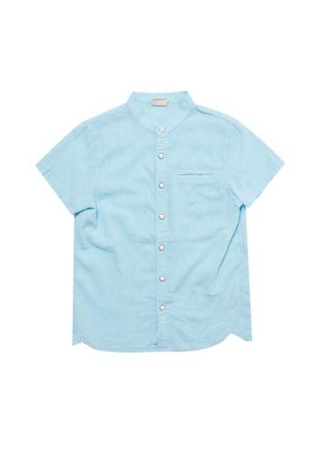 Giordano green Junior Short Sleeve Cotton Linen Shirt 710D8KAF159E8AGS_1