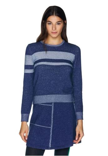 United Colors of Benetton 藍色 LOGO 趣味針織衫 CAD87AAE679AEFGS_1