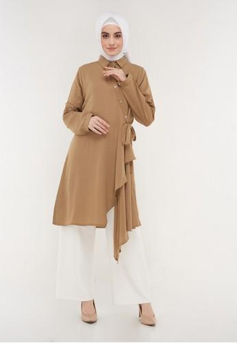 Hanalila Daily Hijab brown Ghina Tunic In Mocca 161D2AA55EA811GS_1