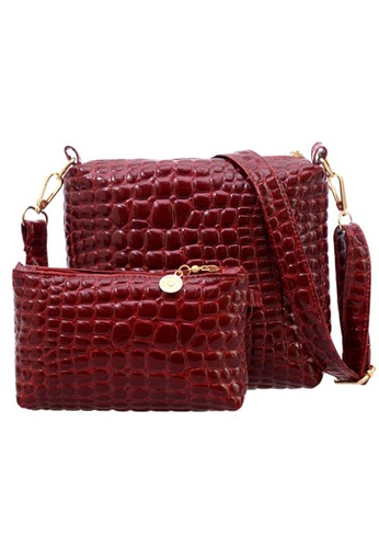 Jackbox red Set of 2 Artificial Crocodile Leather Purse Sling Bag 909 (Red) #TEMP-SKU#config90KQR_1