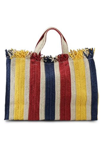 Keddo red and yellow and blue and beige Ronnette Tote Bag 40E69AC9930E04GS_1