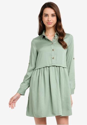 LC Waikiki 綠色 襯衫領短洋裝 07293AAAE987ADGS_1