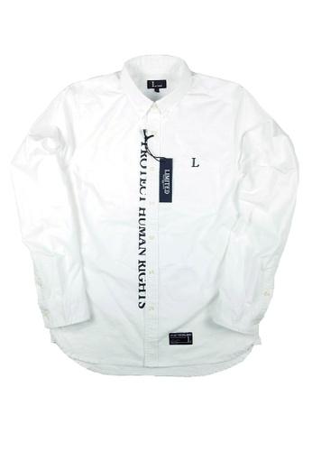 L.I.M.I.T.E white Printed & Emb. Oxford Shirt LI425AA0FCJWSG_1