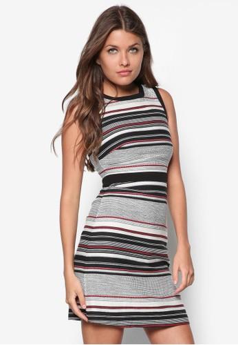 條紋A 字連zalora 包包評價身裙, 服飾, 服飾