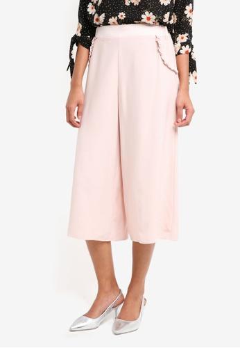 Dorothy Perkins pink Petite Ruffle Pocket Culotte Pants C590BAA242F60BGS_1