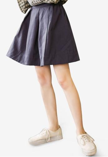 Shopsfashion 海軍藍色 Pleated Flare Skirt SH088AA60RJRMY_1