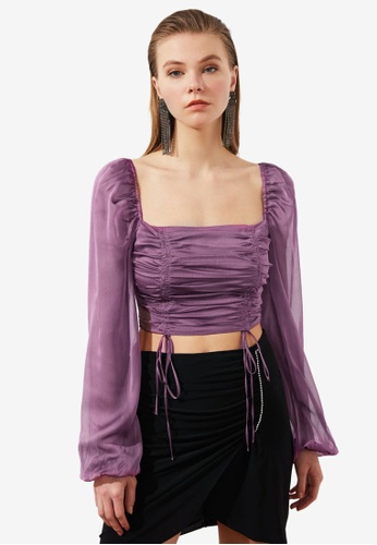 Trendyol pink Ruched Square Neck Poplin Top D55F8AA4652CFFGS_1