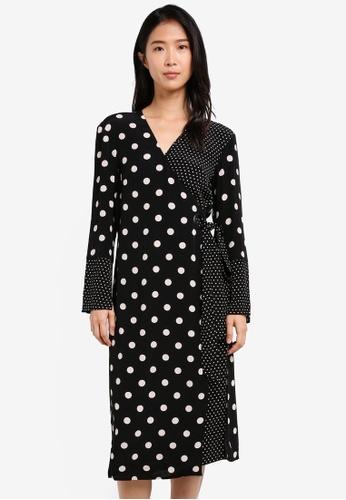 TOPSHOP black Spot Eyelet Wrap Dress TO412AA0SD6EMY_1