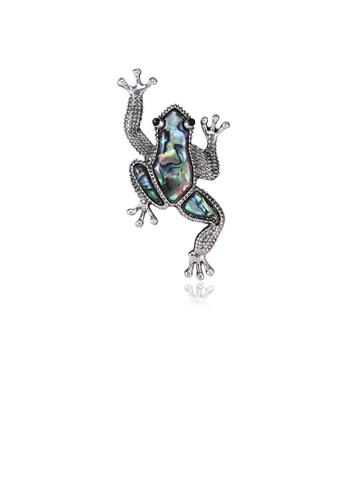 Glamorousky silver Fashion Elegant Frog Brooch 7E2FFAC844B107GS_1