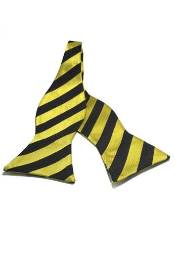 Splice Cufflinks Manual Series Black Stripes Yellow Self-tied Man Made Silk Bow Tie SP744AC26KZLSG_1