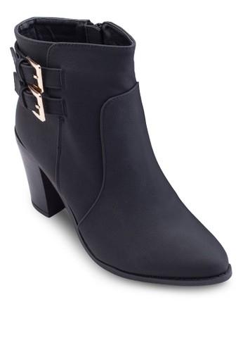 Iyla 雙扣環麂皮粗跟低筒靴, 女zalora 衣服評價鞋, 鞋