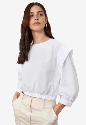 Trendyol white Basic Sleeve Detail Blouse 3E0DFAADCA2CB2GS_1