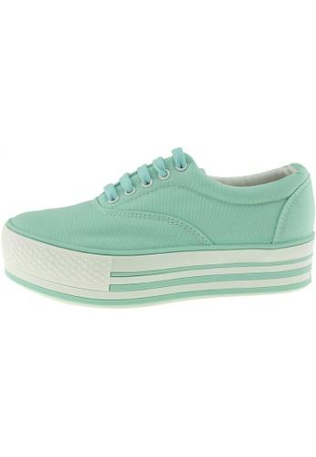 Maxstar 綠色 新款韩国鞋C40-5H時尚帆布布混合女浅蓝色 US Women Size MA345SH64HGDTW_1