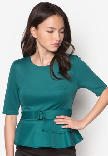 Kyliezalora是哪裡的牌子 撞色荷葉擺腰帶上衣, 服飾, 上衣