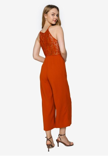 Saturday Club brown Wide-Leg Jumpsuit With Lace-Trimmed Back CC878AA60A30D9GS_1