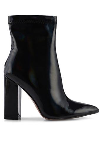 Public Desire 黑色 Rejoice Point Toe 粗跟踝靴 6DD98SHA9D6746GS_1