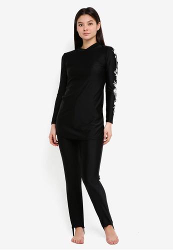 PINK N' PROPER black Modest Azra Floral Muslimah Swimwear Set 2859CUS2F22FF6GS_1