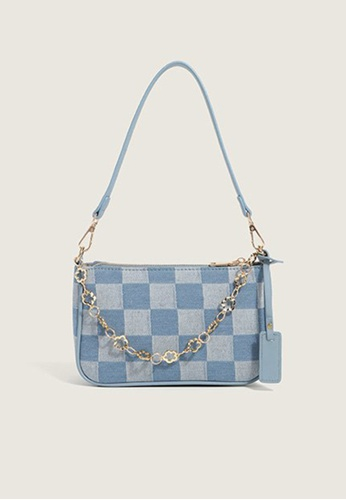 Lara blue Women's Vintage Zipper Check Underarm Bag - Sky Blue 80192ACC1421E3GS_1