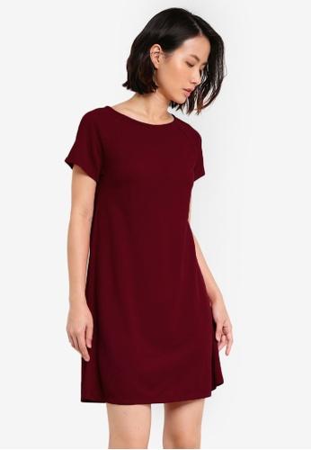 ZALORA red Essential Raglan Sleeve Shift Dress D596EAA6BCE7DAGS_1