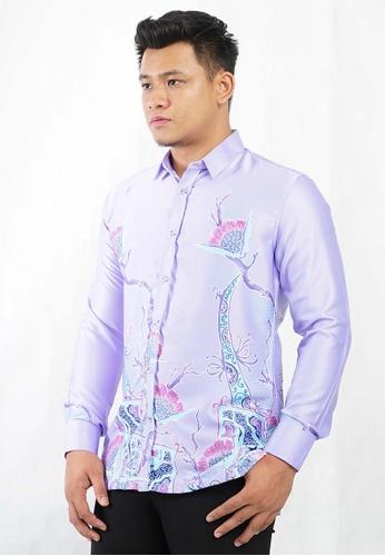 UA BOUTIQUE purple Long Sleeve Shirt Batik UABM14-111 (Light Purple) DD23BAA79AD4D1GS_1