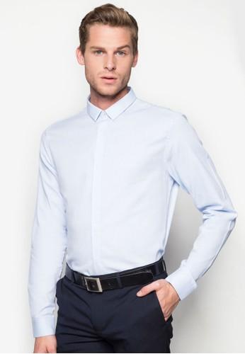 素色牛津長zalora鞋袖襯衫, 服飾, 素色襯衫