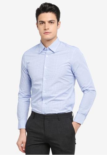 G2000 blue Mini Checked Long Sleeve Shirt 6FDF3AA053EE1BGS_1