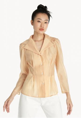 Pomelo orange Wide Collar Cinched Waist Shirt - Orange 5C0BFAA5C11016GS_1
