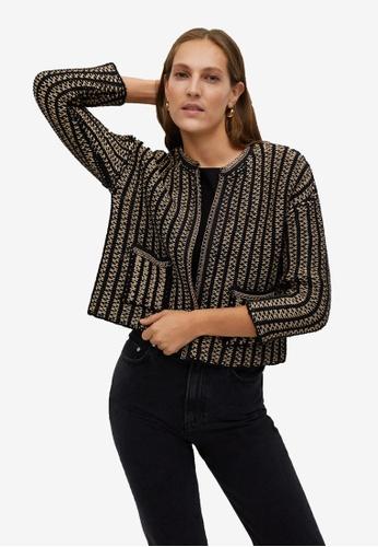 Mango black Knitted Chain Cardigan 52478AAB89BF7CGS_1