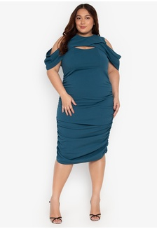 d090e49f788fc Plus Size Cold Shoulder Draped Ruched Skirt Dress 833B2AABA68538GS 1 Madelaine  Ongpauco Barlao ...