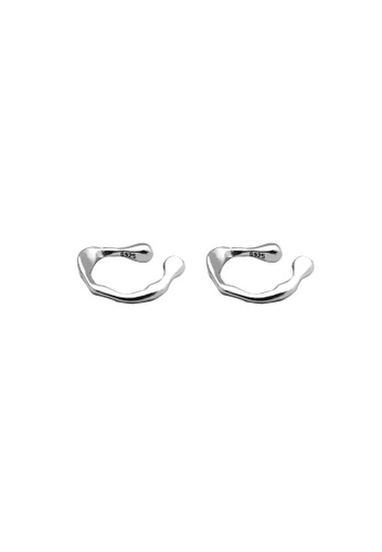 LYCKA 銀色 LDR9102 S925純銀 不規則紋理耳夾 4E775AC3931845GS_1