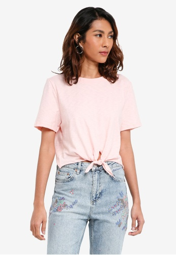 TOPSHOP pink Knot Front T-Shirt 52688AAD58F0B9GS_1