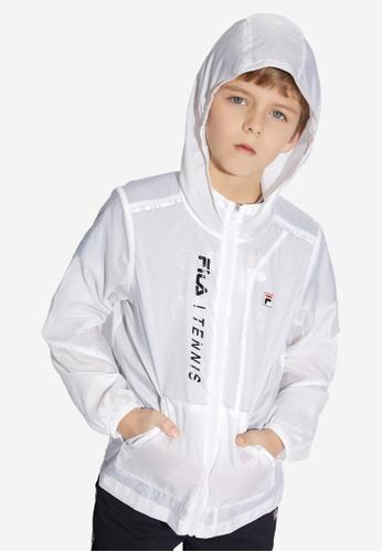 FILA white FILA KIDS Vertical FILA TENNIS Logo Sheer Hooded Jacket 8-15yrs 45CBBKAF105B41GS_1