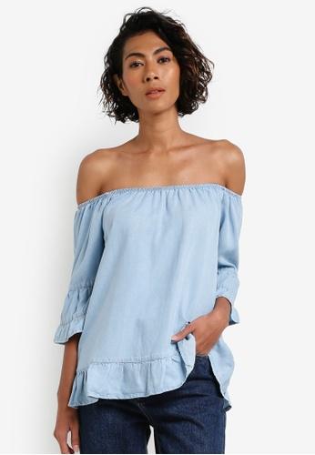 Vero Moda blue Irina Ruffle Top VE975AA0RRFRMY_1