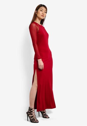 Something Borrowed red Mesh Sleeve Maxi Dress 6178CAA2CCFE57GS_1