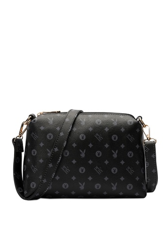 PLAYBOY BUNNY black PLAYBOY BUNNY LADIES MONOGRAM SLING BAG FE999AC43E4FF6GS_1